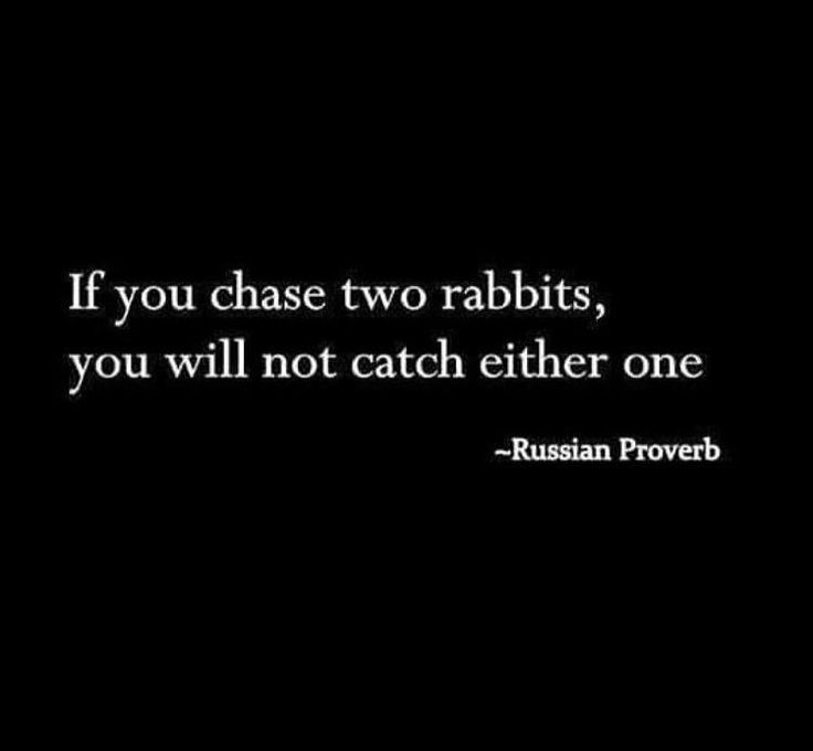 """If you chase two rabbits, you will not catch either one."" - Russian Proverb"
