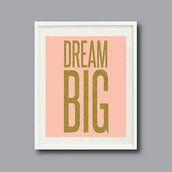 Dream Big -8x10 - Pink with Gold Glitter Text- Typography Art Print - Wall Art - Home Decor - Nursery - Kids Room