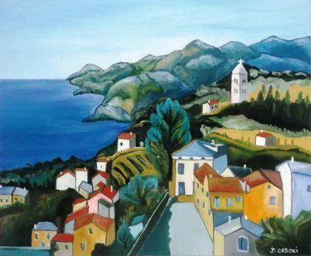 Peinture du beau village de Pino en Corse  : Peintures par j-orsoni