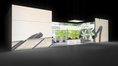 425 Heizungsanlagen Zeus Sustainable   Ansprechender Messestand für einen Hersteller von Heizungsanlagen.   Die hohen, rahmenlos bedruckten Leuchtwände bringen das Blätterwald Motiv und ...