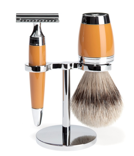 MÜHLE - shaving set silver tip brush and safety razor - STYLO Series - handel made of high-grade resin, butterscotch