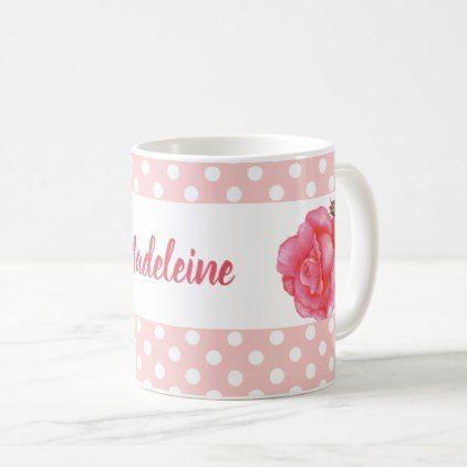 Custom Pink Roses Floral Art Polka Dot Coffee Mug - pattern sample design template diy cyo customize