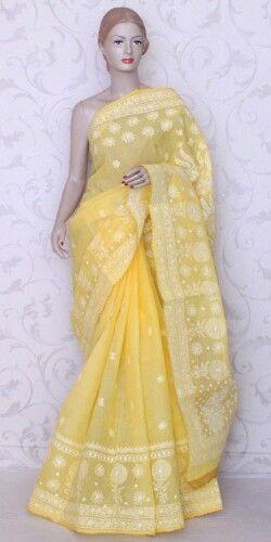 Yellow Chikan Saree from amgsquare.com