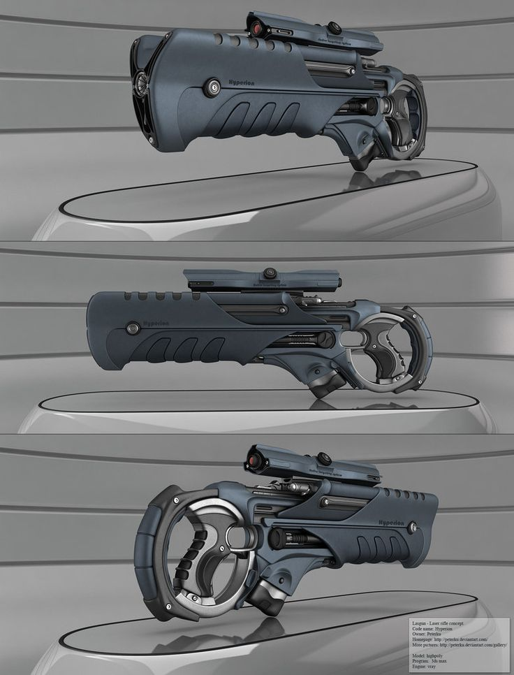 Concept laser rifle. shiny solid metal piece from the sci-fi future. It works with light beam not with projectiles and therefore there is no recoil.