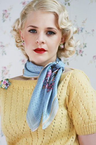 Beautiful waved bob and spring palette ensemble. makes me want more 30s era clothing for the spring.