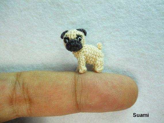Micro Miniature Tan Pug Dog by Su Ami.  :)  Made to order.  Crochet, amigurumi