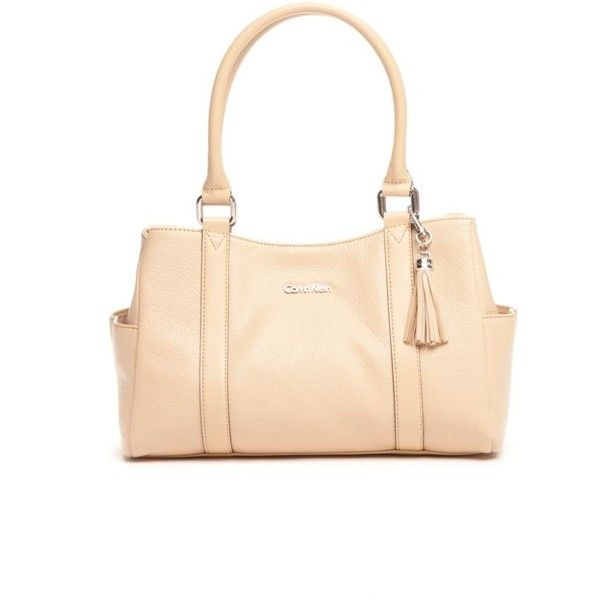 Calvin Klein Nude Modena Satchel ($198) ❤ liked on Polyvore featuring bags, handbags, nude, leather purse, calvin klein, real leather handbags, leather handbags and calvin klein purse