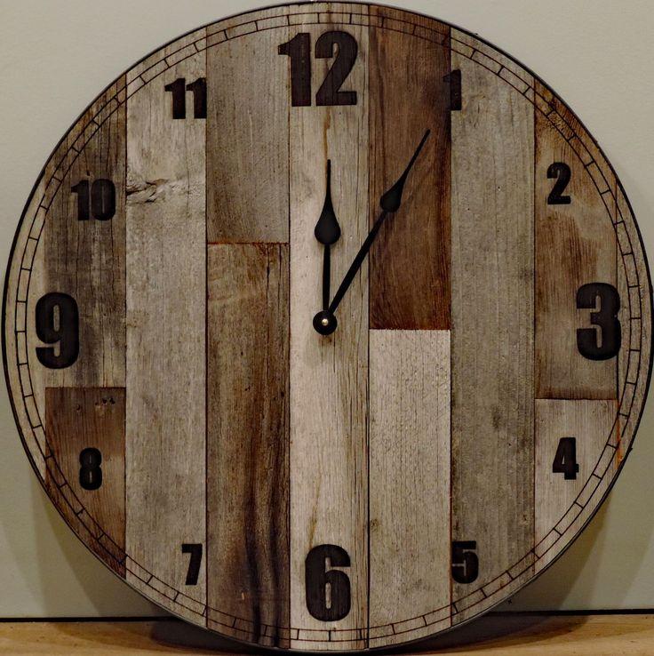 24+inch+Large+Rustic+Wall+Clock+*+Big+Barn+Wood+Clock+with+reclaimed+wood,+raw+steel+ring,+rusty+screws
