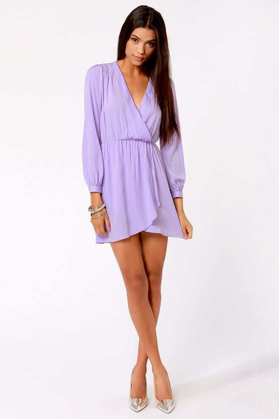 Cute Lavender Dress - Wrap Dress - Long Sleeve Dress