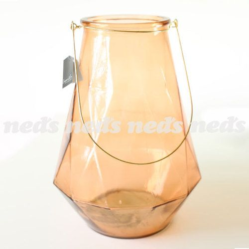 Glass Lantern with Handle 37cm - Peach