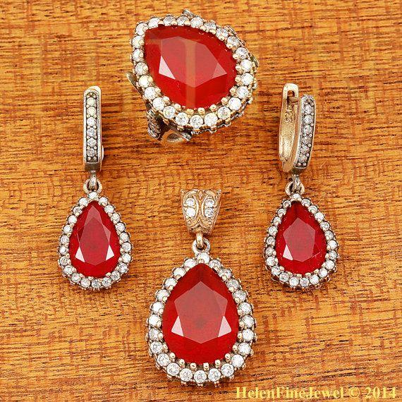 Hurrem Sultan Set Tear Drop Shape Ruby Color by helenfinejewels, $58.00