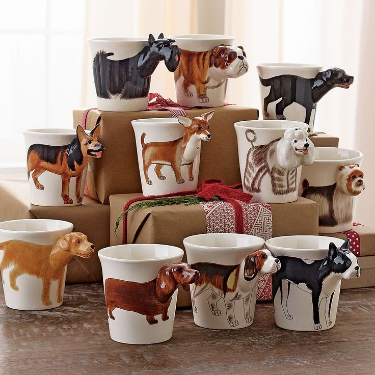 Dog Coffee Mugs. My favorite obviously is the Boston Terrier mug on the bottom right! | The Company Store: