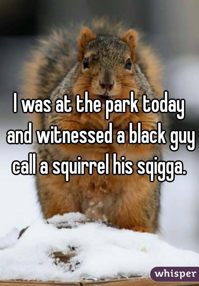 """I was at the park today and witnessed a black guy call a squirrel his sqigga."""