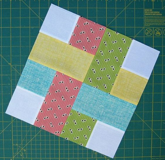 very simple quilt block made of squares and rectangles.