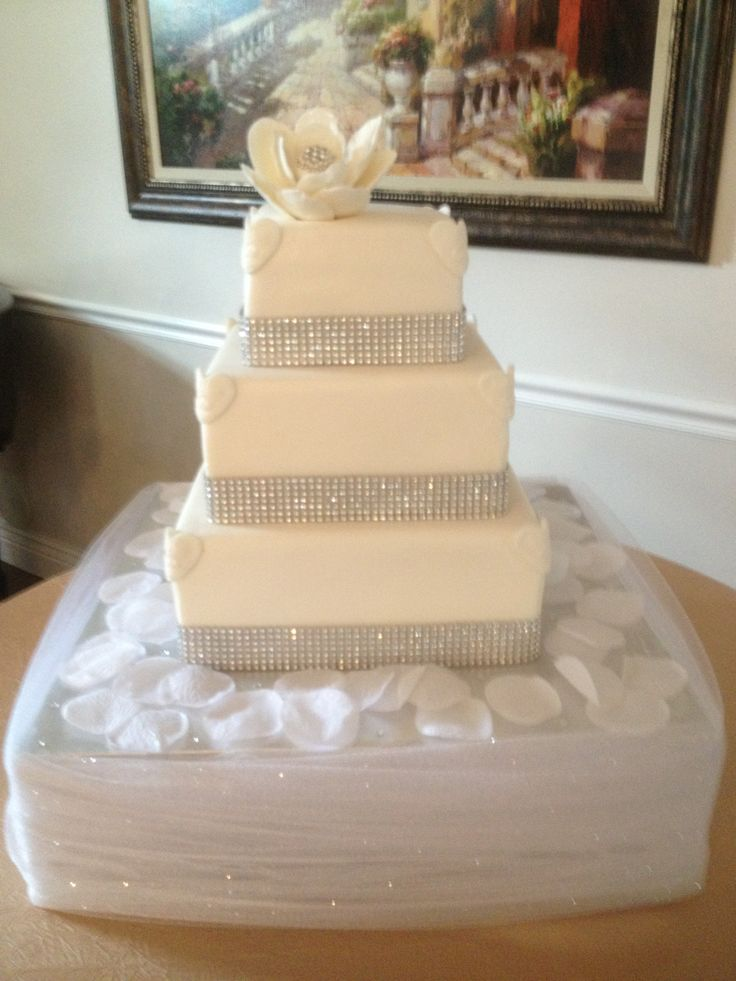 Fantasy Flower Square Bling Wedding Cake Two Dummy Tiers And One Tier Vanilla With Strawberry Filling Covered Marshmallow Fondant Brushed