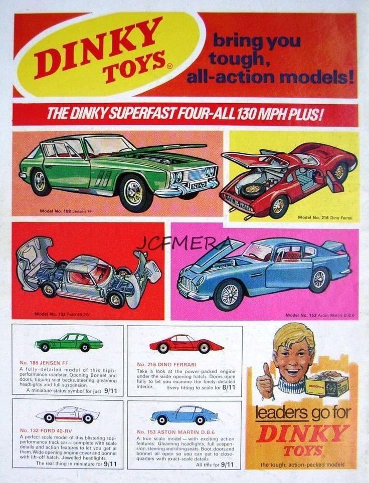 1968 Dinky Toys ADVERT 'Ferrari Dino', 'Aston Martin DB6'