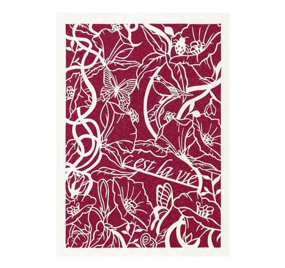 Ces't La Vie, Papercut, Home Decor, French Quote, That's Life #Paper #CestLaVie #Papercut #FrenchQuote #ThatsLife #PaperButterflies #BirdPaperCutArt #NewHomeGift #BirthdayGift #Forher #PersonalisedArt #FlowerPapercutting #WallArtPrint #ladybird #etsy