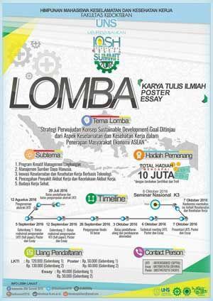 #OSHSummit #LKTI #LombaEssay #LombaPoster Indonesian OSH Summit 2016 Lomba Karya Tulis Ilmiah, Lomba Essay, Lomba Poster  DEADLINE: 29 Juli 2016  http://infosayembara.com/info-lomba.php?judul=indonesian-osh-summit-2016-lomba-karya-tulis-ilmiah-lomba-essay-lomba-poster