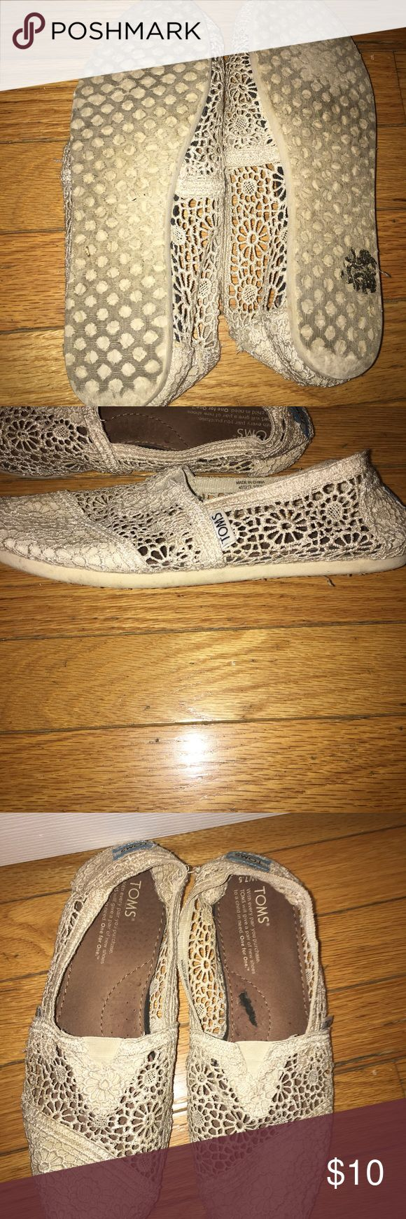 Creamed Colored Lace Toms Slightly dirty, small rips on shoes Toms Shoes Flats & Loafers