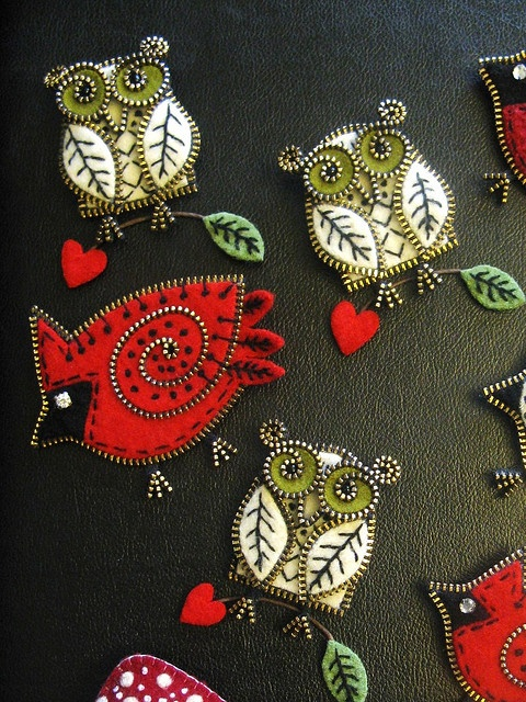 owl and cardinal zipper pins