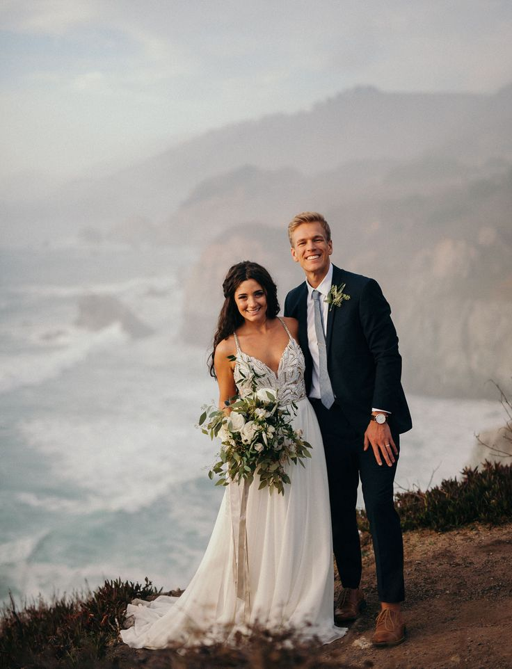 Intimate Big Sur Wedding // wedding portraits on the beach by Cassie Rosch