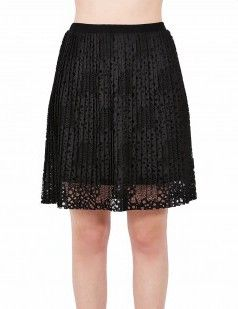 Lace pleated mini skirt - Black-15 euros