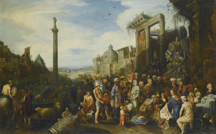 Willem van Nieulandt the Younger ANTWERP 1584 - 1635 (?) AMSTERDAM THE ADORATION OF THE MAGI signed lower right on the base of the column: . GVILo. VAN . NIEVLANT . oil on oak panel 67.9 by 106.5 cm.; 26 3/4  by 42 in.