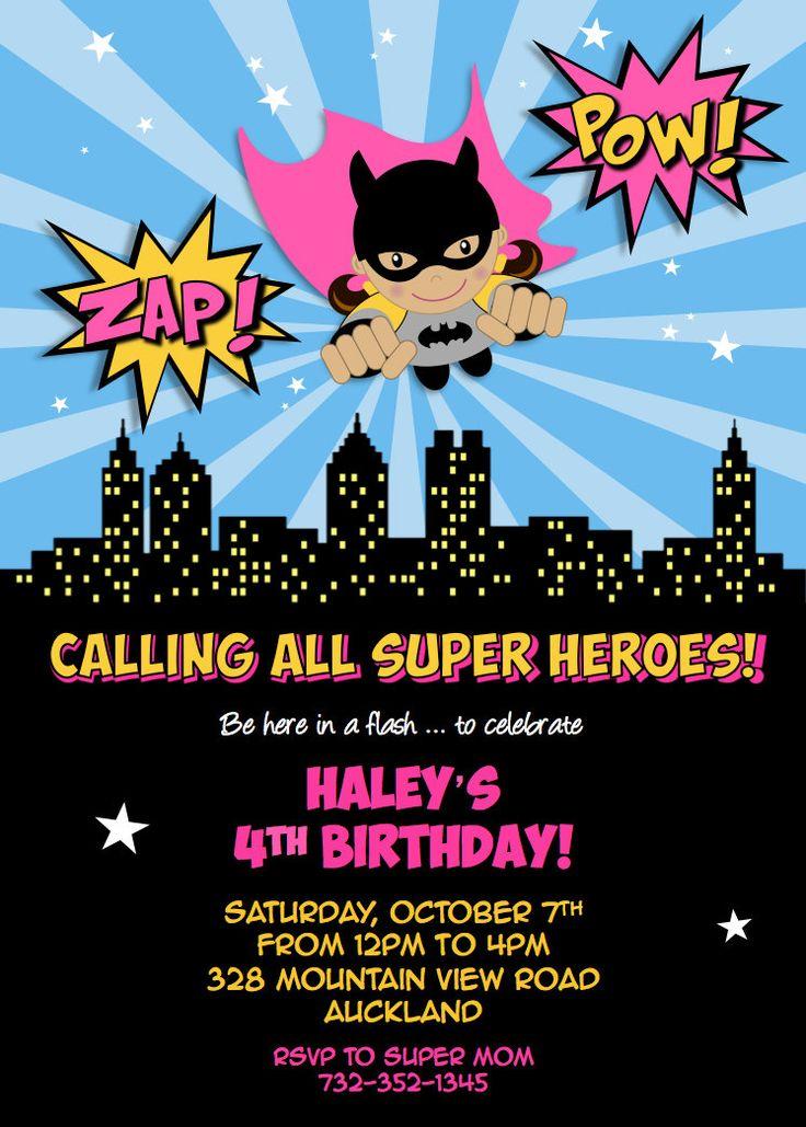 Flying Super Heroes PINK Batgirl party pdf or jpg ...