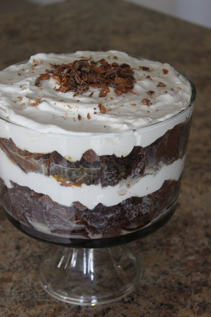 Better Than Sex Triffle.  Next time better if have 2 containers cool whip if want 3 layers of triffle?  Not bad with one...just felt should be thicker. Mouth some choc chips in layers too.