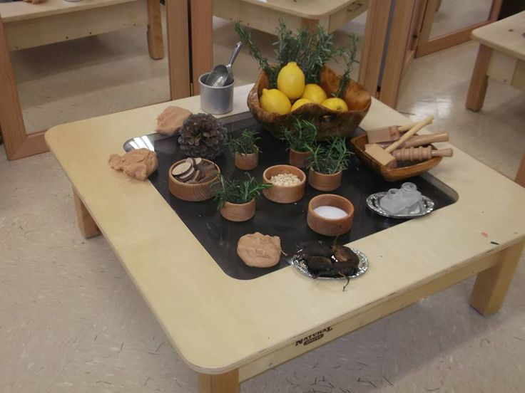 Invitation to explore scent with cinnamon play dough, fresh rosemary and lemons (Eclipse Early Learning Center, Australia)