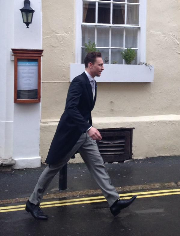 Tom Hiddleston on his way to Benedict Cumberbatch's wedding.