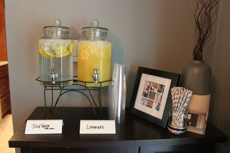 Drink Station.  Housewarming Party.  Yellow and Gray