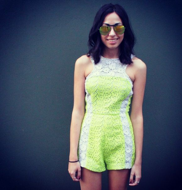 Sunny Saturday in our 'Lace Block Playsuit'. Available in stores and online now - www.shakuhachi.net x