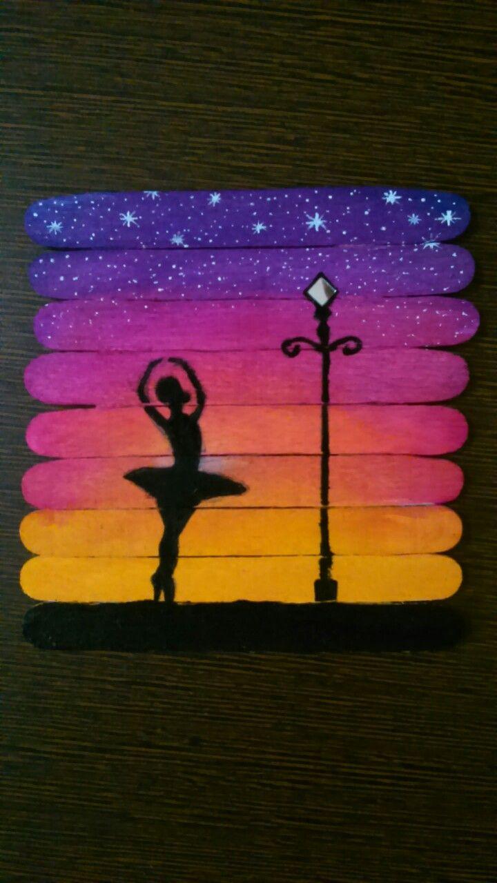 Icecream stick diy dancing girl painting