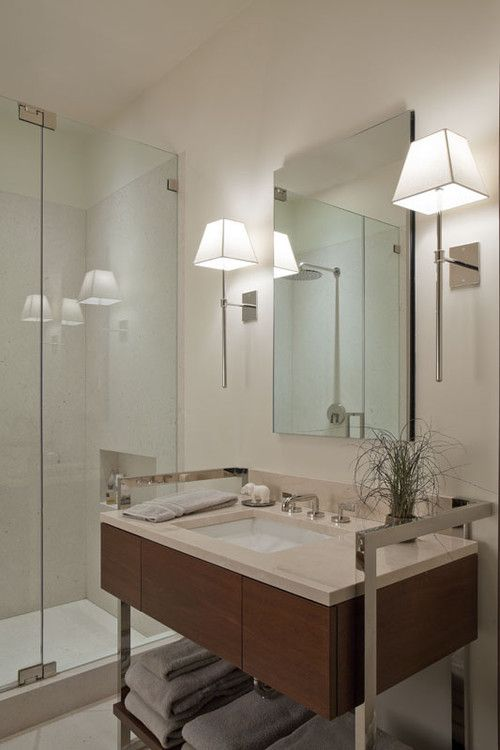 Bathroom Mirrors And Lighting 107 best bathroom lighting over mirror images on pinterest modern bathroom by neuhaus design architecture p i wonder if we could add sconces like these in the main bathrooms audiocablefo
