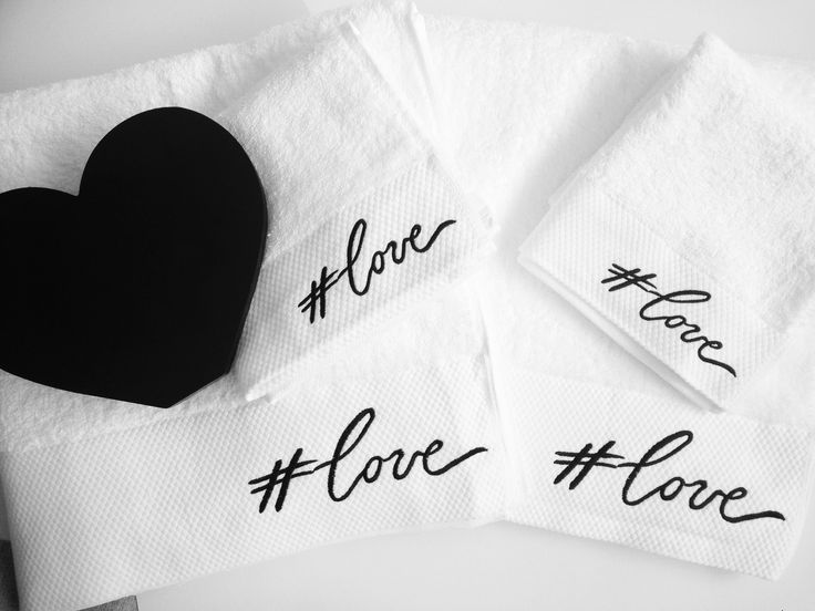 #love typography embroidered towels = perfect valentines gift