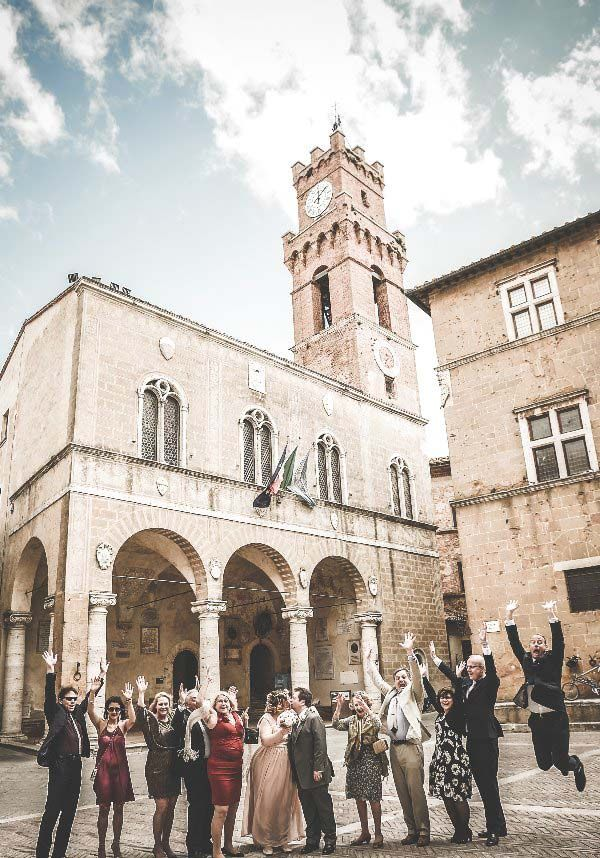 Wedding guests in Pienza