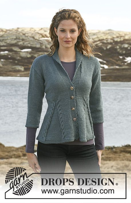 """Keira / DROPS 115-1 - Knitted DROPS Jacket with cables in """"Karisma"""" with 3/4 or long sleeves. Size S – XXXL."""