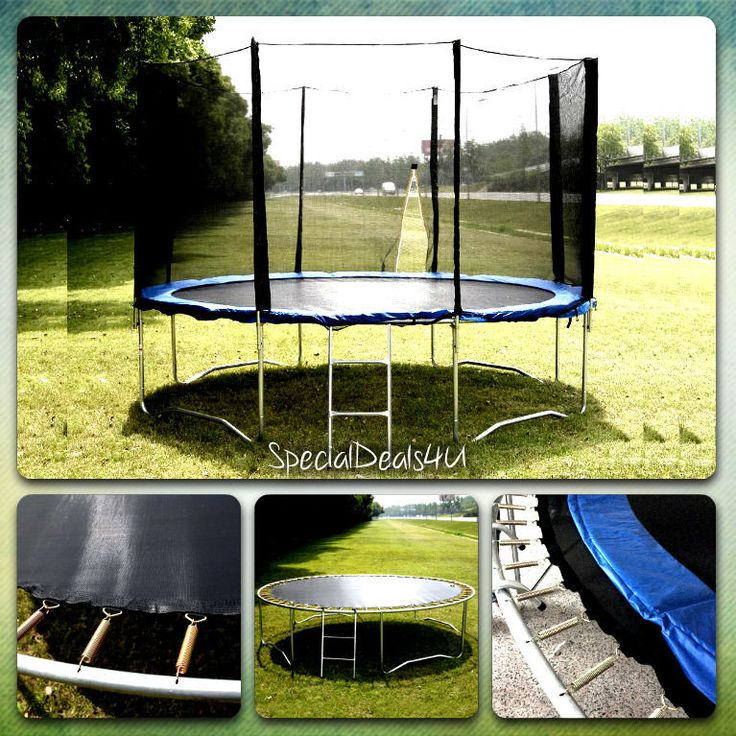14Ft Trampoline Safety Net Round Bounce Jump Pad Ladder Spring Exercise Game New #SpecialDeals4U