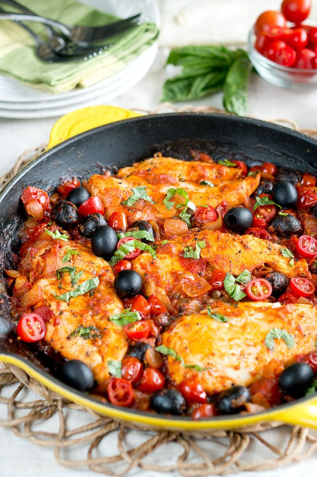 One Skillet Chicken Puttanesca. Easy and healthy one skillet Mediterranean meal that cooks in 30 minutes in just ONE pan.