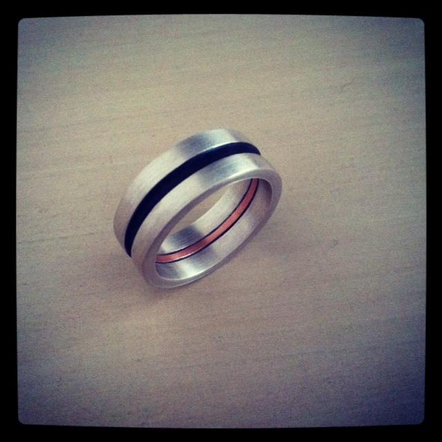 anel masculino de prata e cobre male silver and cooper ring