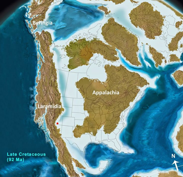 North America in the Late Cretaceous (92 Ma) The Western Interior Seaway (light blue and white) has flooded the foreland across the continent's mid-section, uniting the waters of the Arctic and Hudson Bay with the Gulf of Mexico, while creating two massive continental islands. Laramidia, in the far north, formed a land bridge through Beringia connecting North America and Asia. Submerged Big Water is located at the red dot. Notice coastal flooding on the subsiding shelf of all newly-formed…