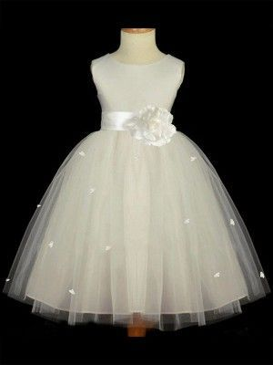 3239cf1b4bf A-line Princess Scoop Sleeveless Hand-made Flower Long Tulle Flower Girl  Dresses