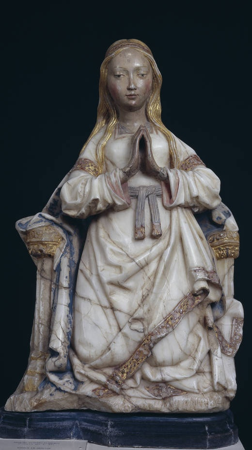 Anonymous. Hispano flamenco, Virgen orante entronizada. Sculpture. Fines de S.15th c. Museo del Prado, Madrid
