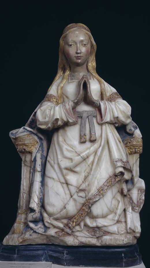 Anonymous. Hispano flamenco, Virgen orante entronizada. Sculpture. Fines de S.15th c. Museo del Prado, Madrid