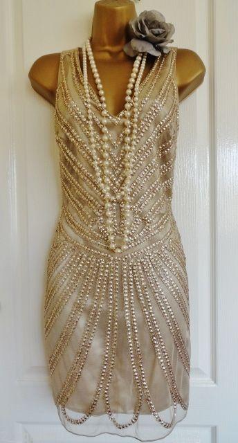 NWT 1920's flapper inspired gold beaded dress size UK 12 USA 8 EU 40 GATSBY