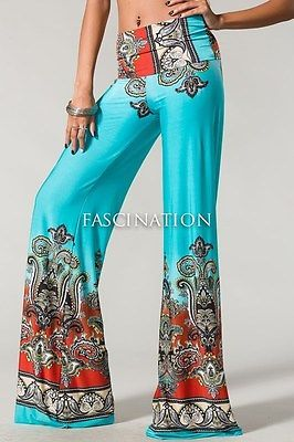 Plus-Size-Sexy-Fold-Over-Waist-Aqua-Paisley-Palazzo-Yoga-Tall-Pants-XL-1X-2X-3X