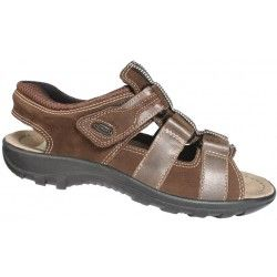 Men leather sandals in brown color. Soft leather with contoured sole and elastic outsole. Comfortable with Velcro to koutepie for convenient and easy application in a modern design and large sizes from Jomos.  Final Price: €68,00