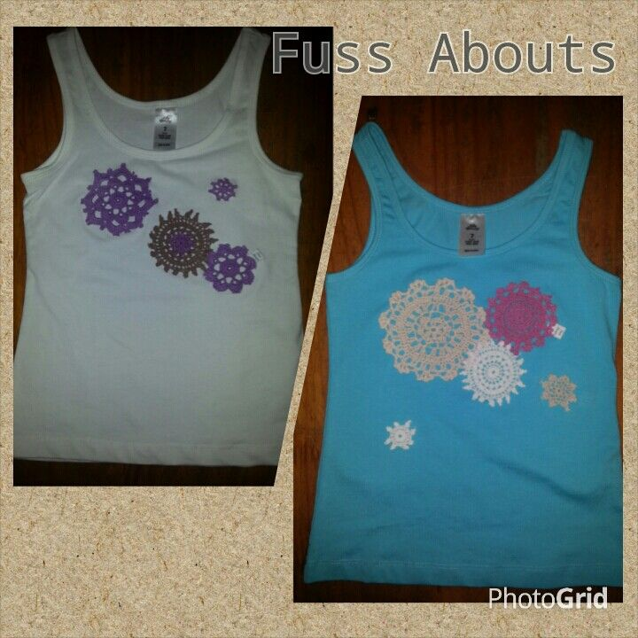 Singlets, embellished with crochet doilies...www.facebook.com/fussabouts