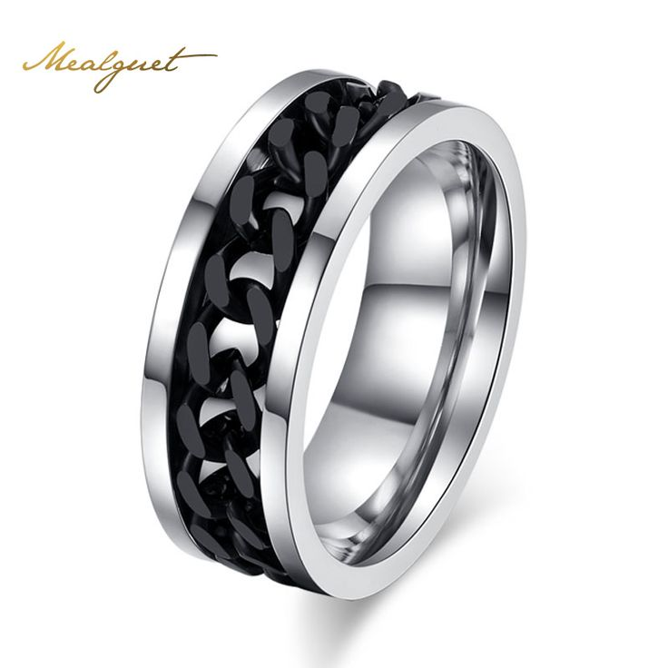 Meaeguet Fashion Men's Ring The Punk Rock Accessories Stainless Steel Black Chain Spinner Rings For Men Wholesale